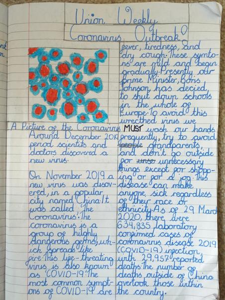 Newspaper report about Coronavirus By Francisca
