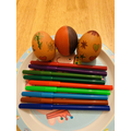 Leonis has decorated his eggs with patterns.