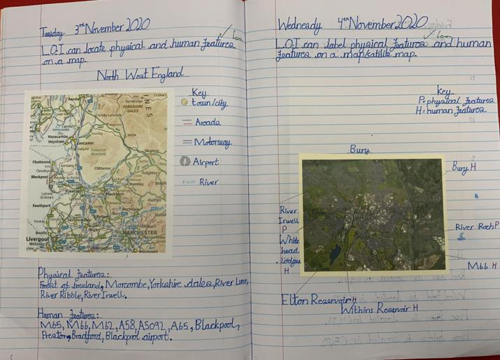 Pupils studied maps and satellite photos, marking physical and human features.