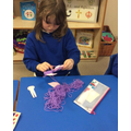 making a spoonbill out of wool