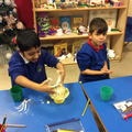 making salt dough for our Christmas ornament