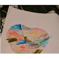 Heart picture using felt tip pens and crayons