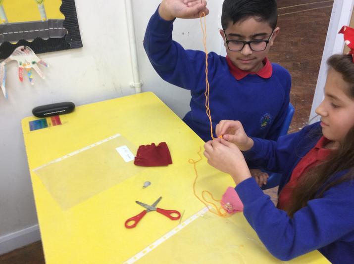 practising sewing skills