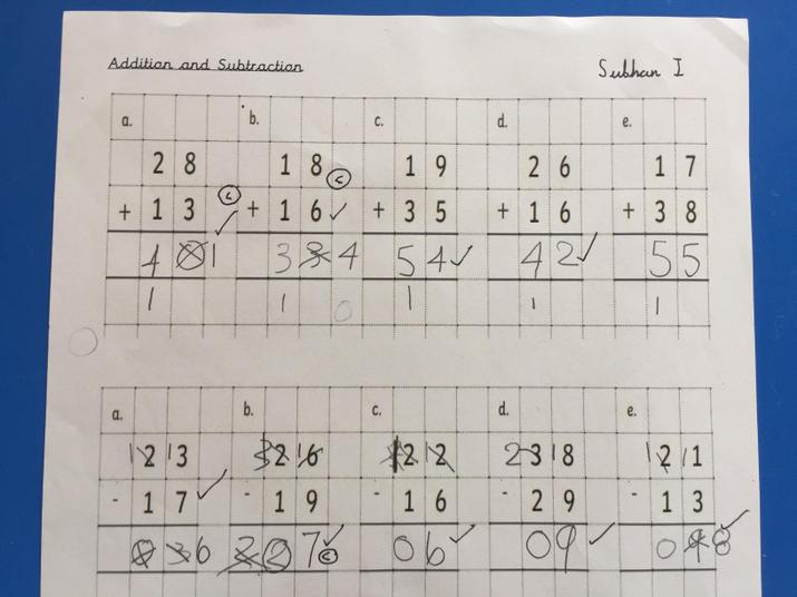 Subhan's addition and subtraction.