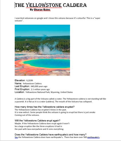 Charan's Yellowstone Caldera Fact File