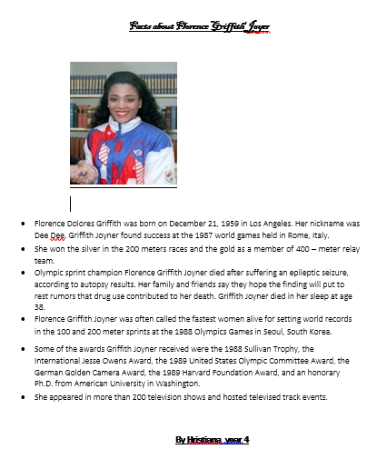 Hristiana's fact file on Florence Griffith Joyer