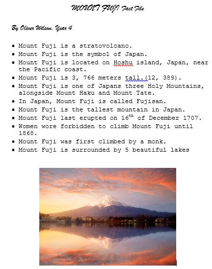 Ollie's Mount Fuji Fact File
