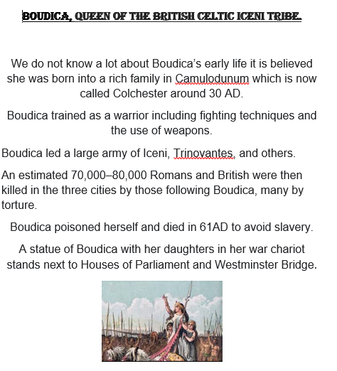 Ethan's Boudica Fact File