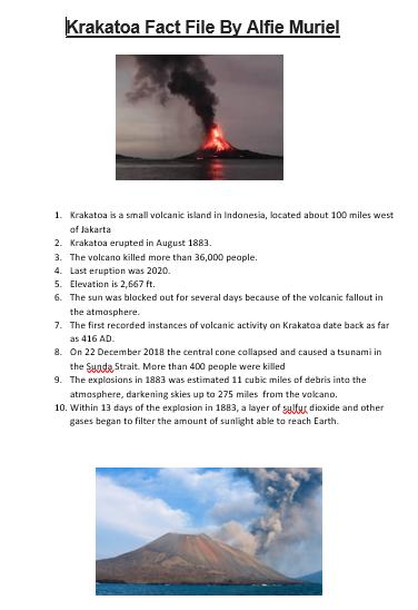 Alfie's Krakatoa Fact File