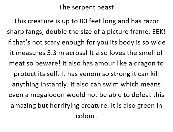 Aaran's Description of a Mythical Creature
