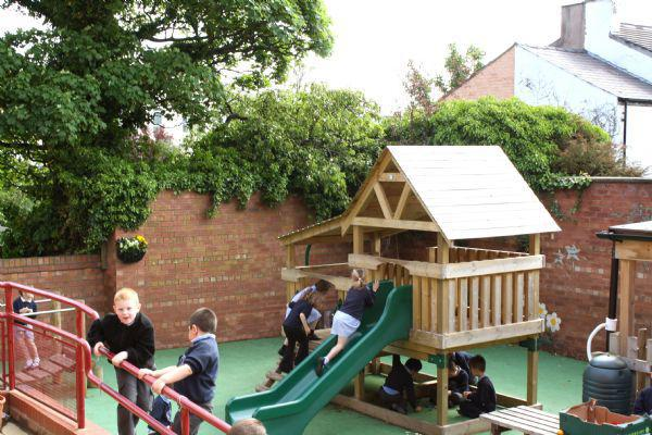 climbing in the infant playground
