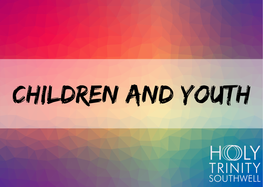 A postcard displaying the words Children and Youth with a colourful background