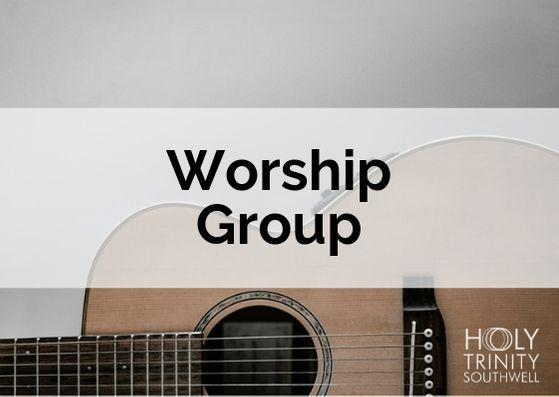 """Postcard with a classical guitar in the background and """"Worship Group"""" across the middle"""