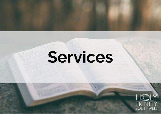 Post card image with Bible Behind and the word Services across the middle