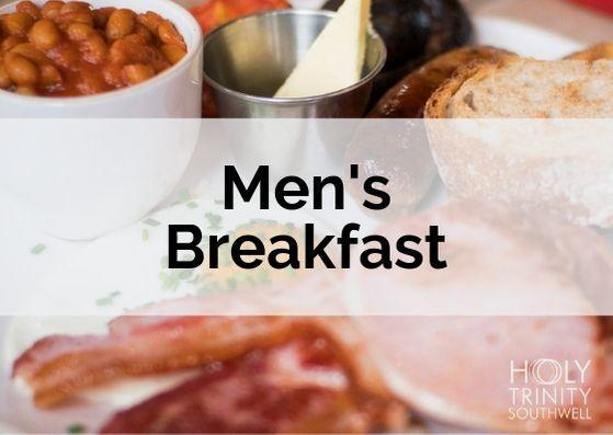 """cost card with full English breakfast in the background with """"Men's Breakfast"""" across the middle"""