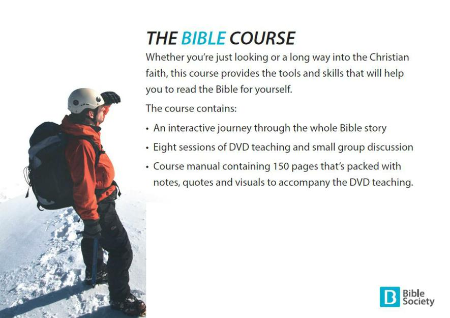 Man on a snow covered mountain toplooking at the view advertising the Bible course