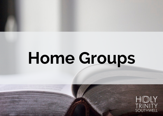 """Postcard with bible in the background and """"Home Groups"""" across the middle"""