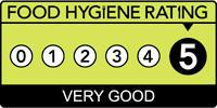 The food hygiene logo displaying a 5 rating of very good