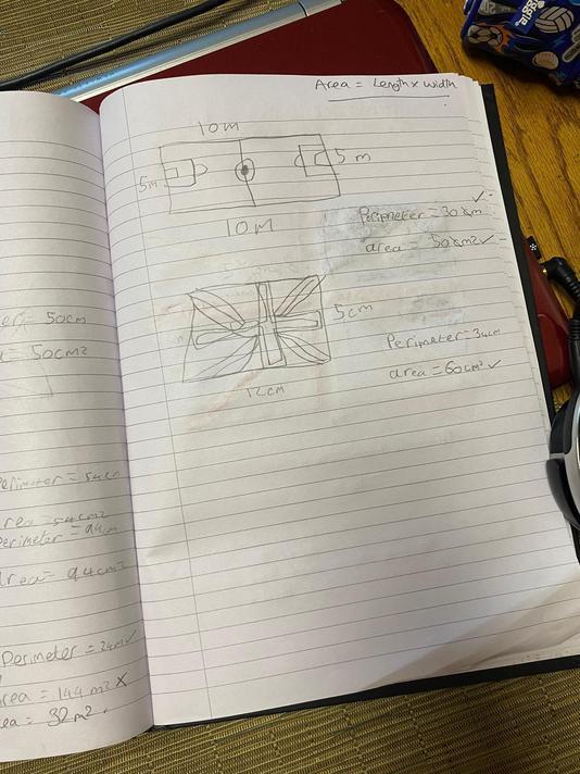 Freddie's Maths work on area.
