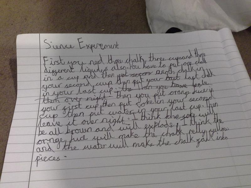 Ayobami's description of the science experiment