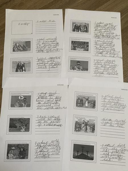Mia Year 2 The Easter Story storyboard