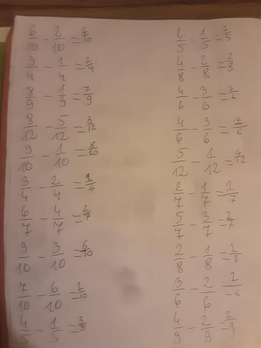 Grazyna's fraction work.
