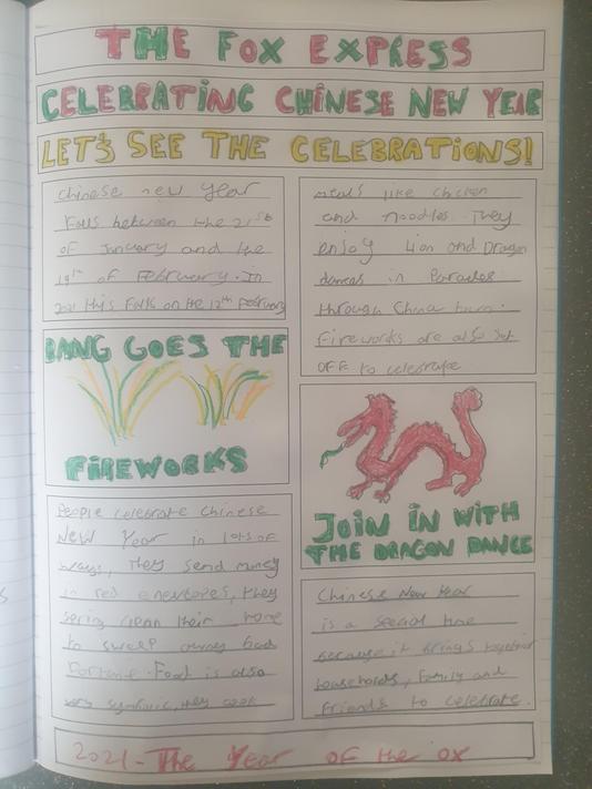 Matthew's fantastic newspaper report.