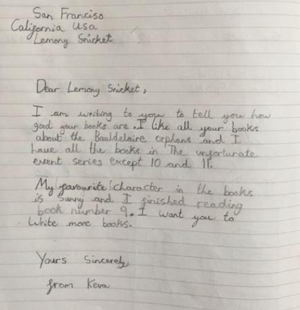 Keva wrote a great letter.
