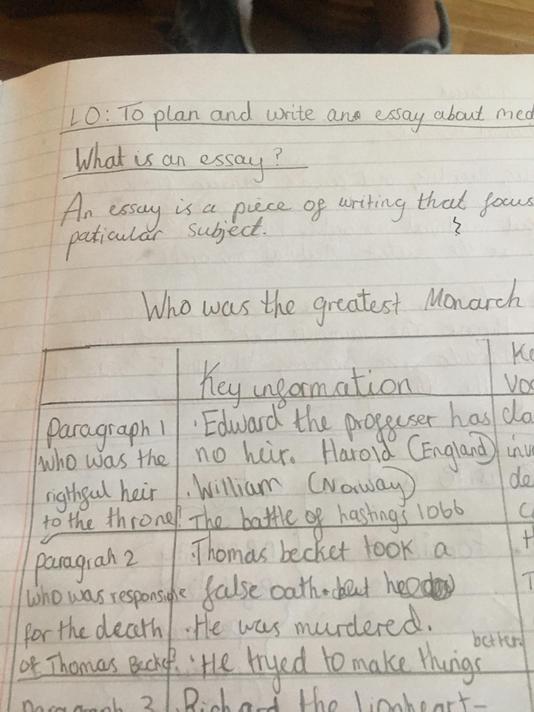 Sarah Year 5 essay planning