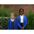 Lacey and Fiyin supporting Year 3 RE lessons