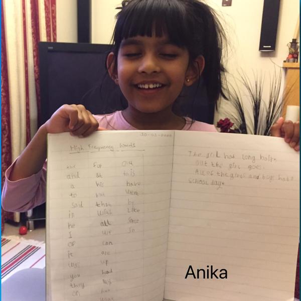 Anika's high-frequency words, YR
