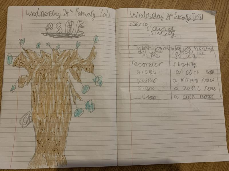 Feranmi has been working on his kindness tree and science.