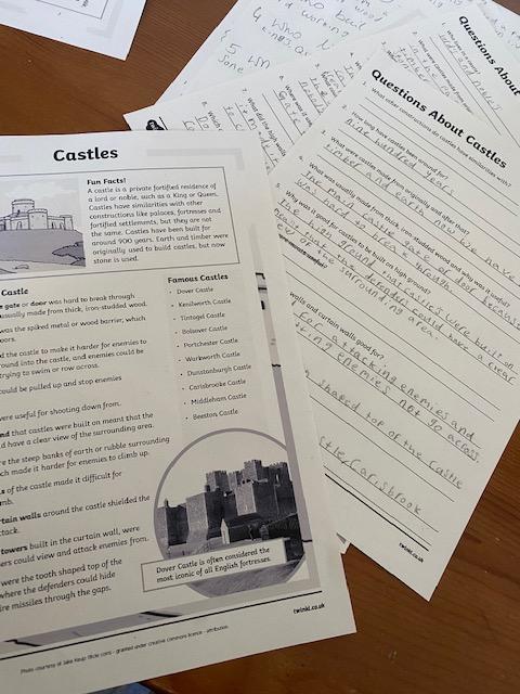 Sophia Year 2 castle comprehension
