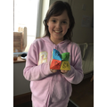 Erin with her colourful chatterbox.