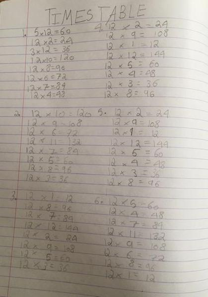 Keva is continuing to recall her times tables rapidly.