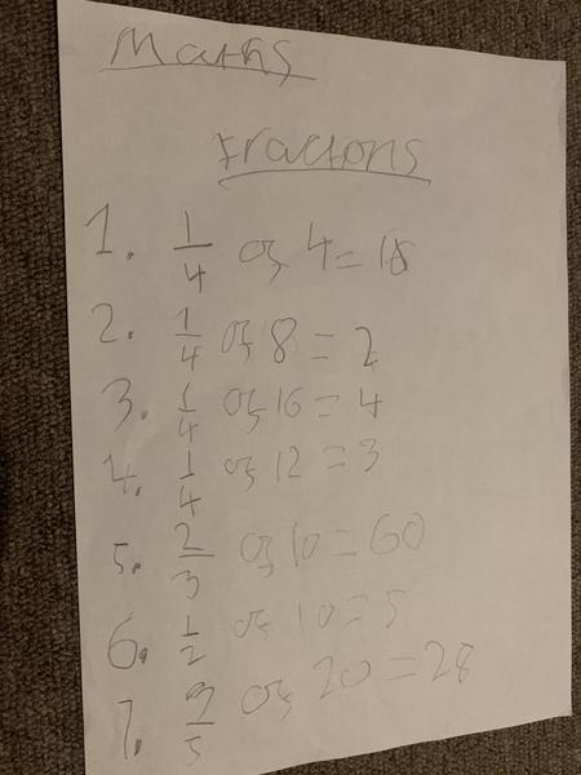 Feranmi's been working on his fractions.