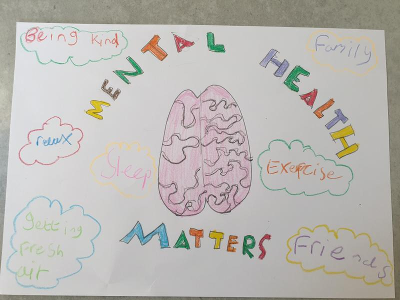 Matthew made a colourful poster to promote mental health.