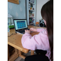 Chloe is working hard on the times tables games.