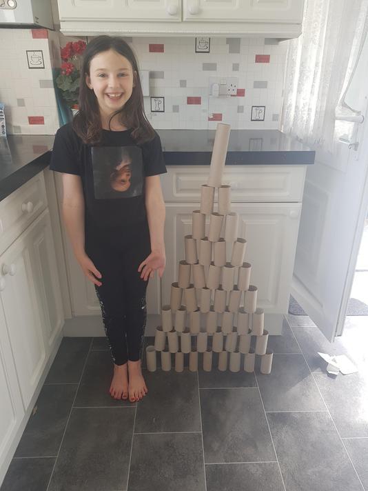 Holly Year 3 pyramid of loo rolls