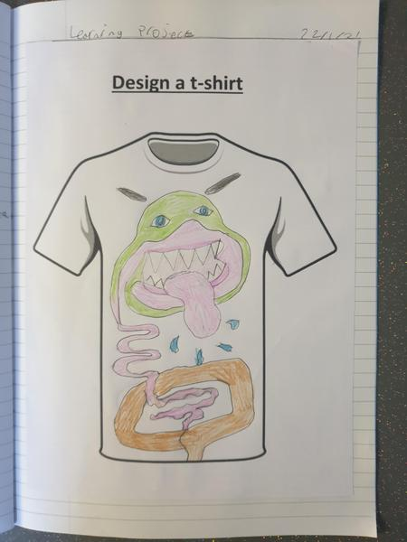 Matthew was creative with his t-shirt design.