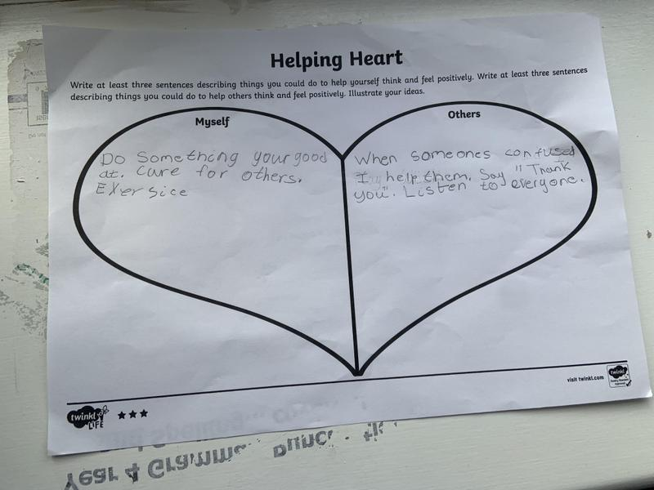 Joshua's helping heart.
