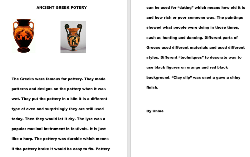 Chloe Year 3 Ancient Greek pottery learning