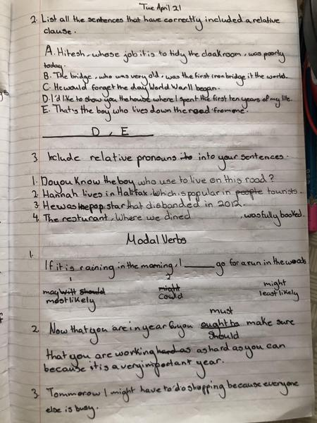 Alexia Year 6 relative clauses and modal verbs