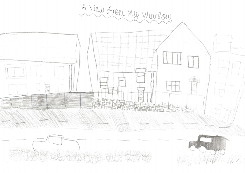 Emma F's sketched view from her window