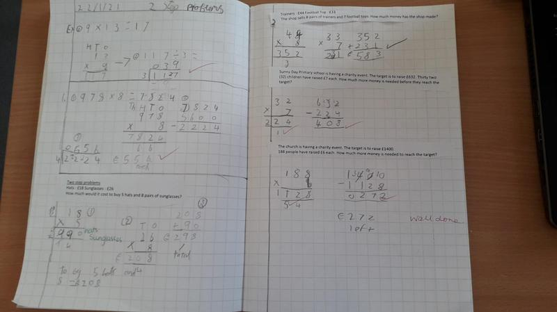 Sam has been working hard on his Maths.