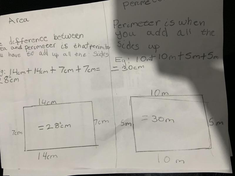 Josh has shown the difference between area and perimeter.