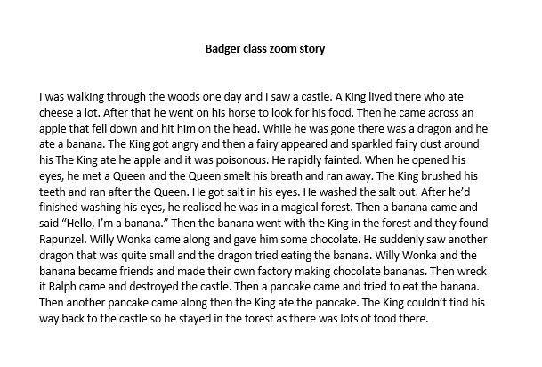 Check out the story that Badger class made up in their zoom registration.