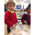 We mixed and tasted porridge!