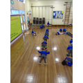 We made the shape of the numerals with our bodies.