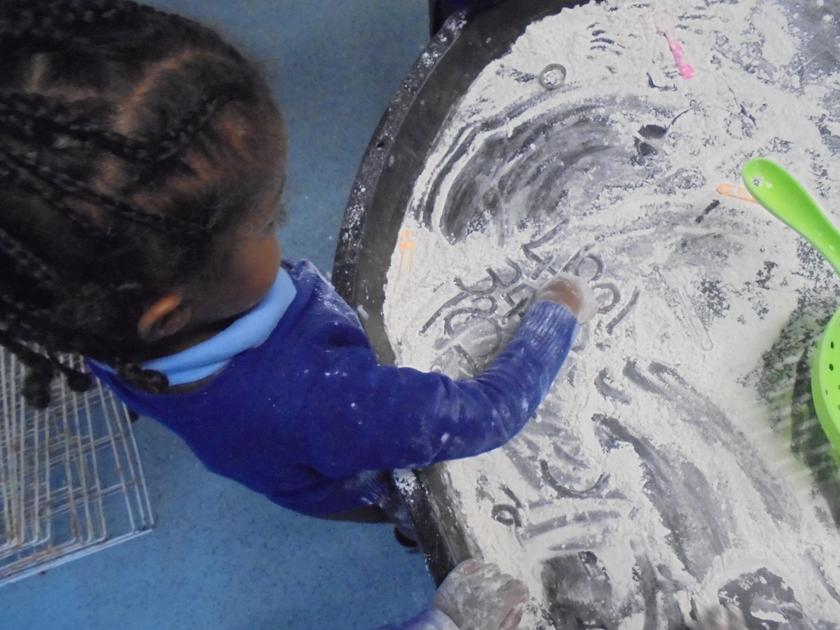Mark making in the flour